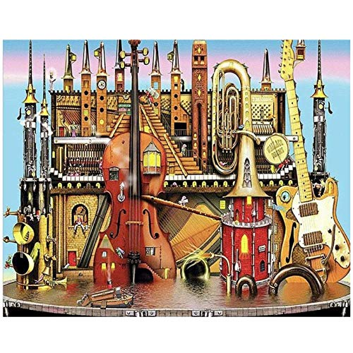 artaslf DIY Diamond Painting Abstract Musical Instrument Building 5d Diamond Embroidery Guitar Violin Cross Stitch for Music Lovers Gift- 40x60cm unframed