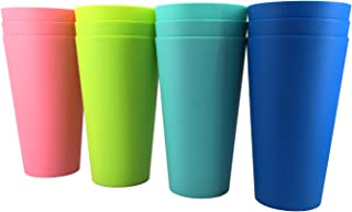 32-ounce Plastic Tumblers Reusable Dishwasher Safe BPA Free Set of 12 Multi-Color Large Drinking Cups