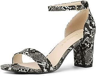 Allegra K Women's Snake Printed Chunky Heels Ankle Strap Sandals