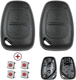 KONIKON 2X Autoschlüssel Gehäuse Schlüsselgehäuse 2 Tasten mit 4 Mikrotaster Taster Funk Fernbedienung Auto Neu passend für Opel Movano Vivaro Renault Master Trafic