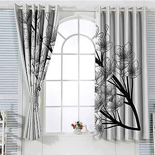 Jinguizi Grommet Window Curtain Bedroom Curtains Black and WhiteJapanese Spring Season Sakura Cherry Blooms Tree Illustration,Black White Short Curtain 72 x 72 inch