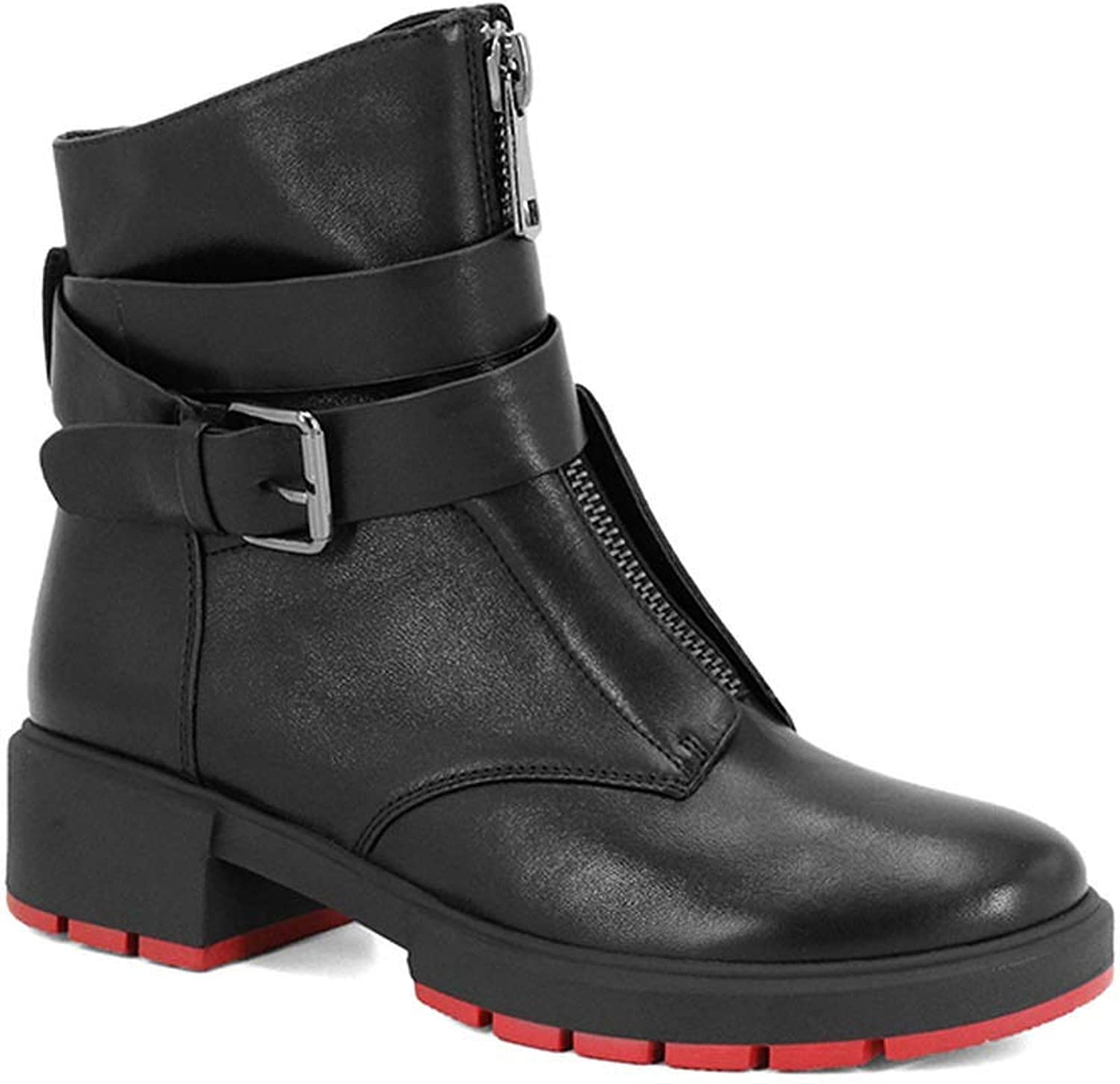 Ankle Boots Casual Thick Round Toe Square Heel Women shoes with Retro Buckle Warm Winter Boots
