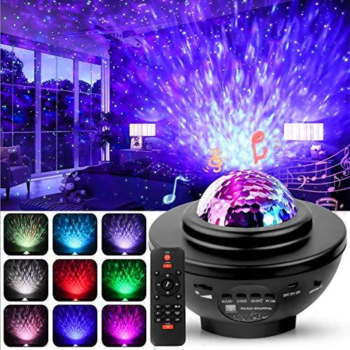 LED Projektor Sternenhimmel Lampe, Swonuk Ozeanwellen Projektor mit Fernbedienung/Bluetooth Lautsprecher/3 Helligkeitsstufen für Kinderzimmer, Partys, Geschenke