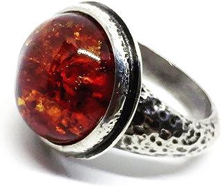 Bellissimo e spettacolare anello con preziosa Ambra Baltica in cabochon da 7,5 carati (14 mm). Anello.