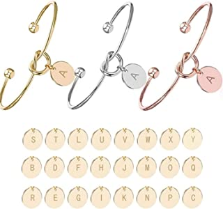 Romanly Personalized Knot Initial Bracelets Bangles A Z 26 Letters Initial Charm Love Bangle for Women Jewelry Pulseiras Gift Wholesale