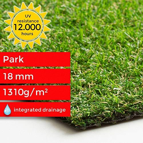 Steffensmeier Kunstrasen Kunststoffrasen Park Meterware | wasserdurchlässig für Balkon, Terrasse, Garten | UV-Garantie in Grün, Größe: 133x50 cm