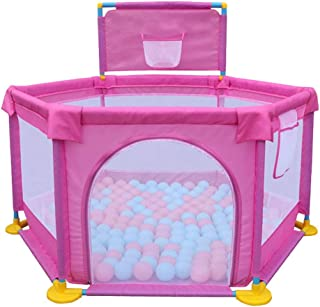 Baby Playyard Hexagonal Tents Infant Playpens With Ball Pit  Safety Household Protective Fence For Babies  Children Playpen Safe Crawling  Color Pink