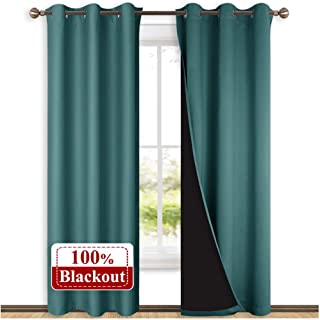 NICETOWN Complete 100% Blackout Curtain Set, Thermal Insulated & Energy Efficiency Window Draperies for Guest Room, Full Shading Panels for Shift Worker and Light Sleepers, Sea Teal, 42W x 84L, 2 PCs