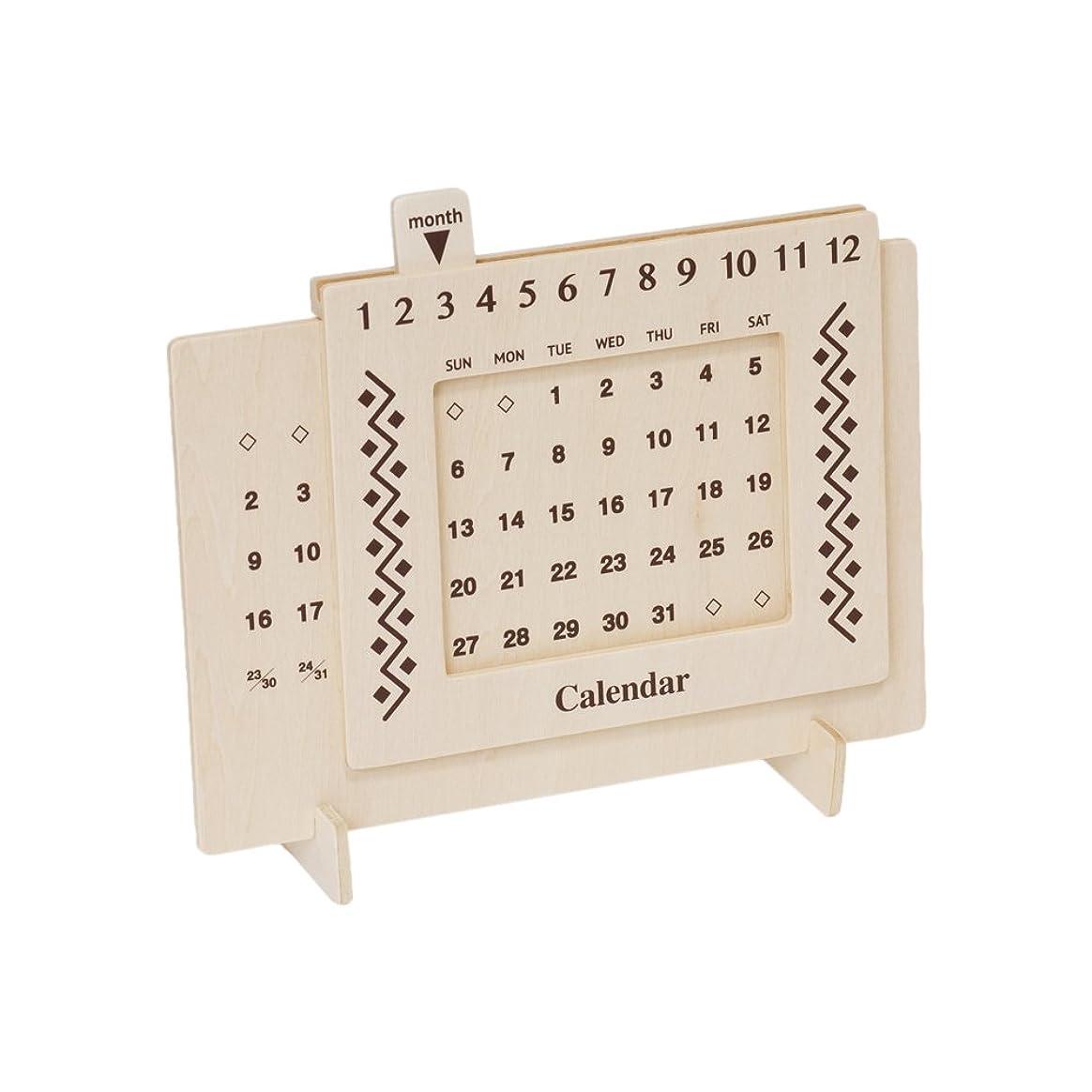 生き残ります忠実にジャンプ【Amazon.co.jp限定】ミコー産業 木製万年カレンダー 幾何学模様 ミコー51001