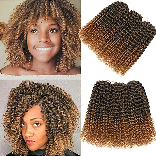 Marlybob Style Jerry Kinky Curl Ombre Color 3pcs/pack 8Inch Marley Afro Kinky Twist Hair Crochet Braids Soft Synthetic Crochet Hair Extention(1B/27)