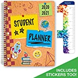 Dated Elementary Student Planner for Academic Year 2020-2021 (Matrix Style - 8.5'x11' - Corkboard Cover) - Bonus Ruler/Bookmark and Planning Stickers