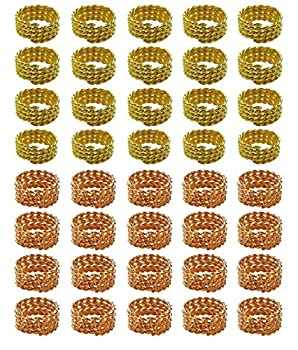 Hyamass 40pcs Gold and Rose Gold Twisted Hair Coil Dreadlocks Braiding Beads Twisted Braid Wig Spring Jewelry Ring Hair Rings