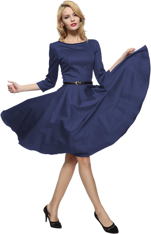 Maggie Tang Audrey Hepburn 3/4 Sleeve 1950s Vintage Rockabilly Full Circle Dress