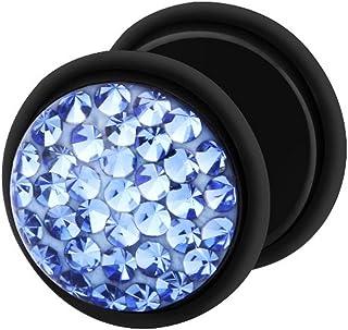 Dilatador Falso Piercing Plug Negro, Pendiente, Multi Cristales Azul Zafiro