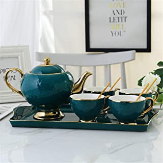 Ceramic Teapot Cups Set Creative Luxurious Gold Trim Ceramic Tea Cup Set Including 6 Pcs Tea Cup And Spoon With A Teapot Ceramic Tray For Home And Office Coffee Tea Party Gift for Thanksgiving