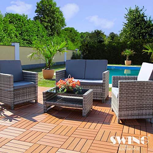 Swing & Harmonie Rattan Lounge Sitzgruppe für 4 Personen Sitzgarnitur Gartenmöbel Set Polyrattan Sofa Garnitur (Grau)