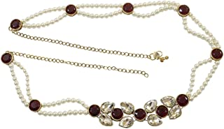 DollsofIndia Faux Zirconia Studded Kamarband - Waist Band - 27 inches, Chain - 15 inches (RJ89)