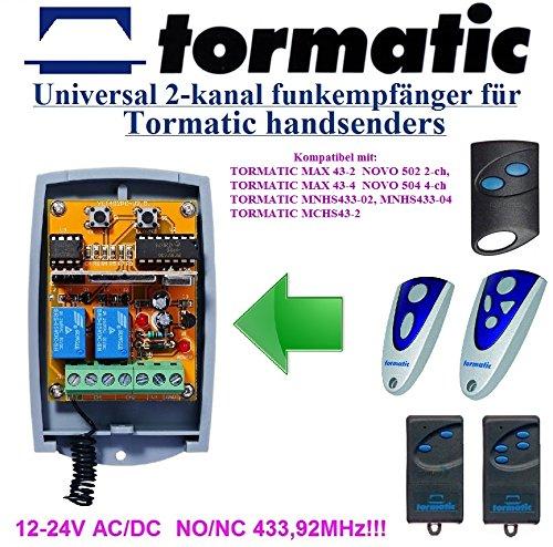 Tormatic kompatibel Funkempfängermodul im Gehäuse, 2-kanal universal Empfänger für MAX 43-2 NOVO 502 2-ch, MAX 43-4 NOVO 504 4-ch, MNHS433-02, MNHS433-04, MCHS43-2 handsender. 12-24V AC/DC
