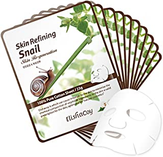 Best ELISHACOY Skin Refining Snail Mask 23g 10 Pack - 100% Pure Cotton Korean Facial Sheet Mask with Snail Secretion Filtrate, Deep Moisturizing and Nourishing Night Skin Care Review