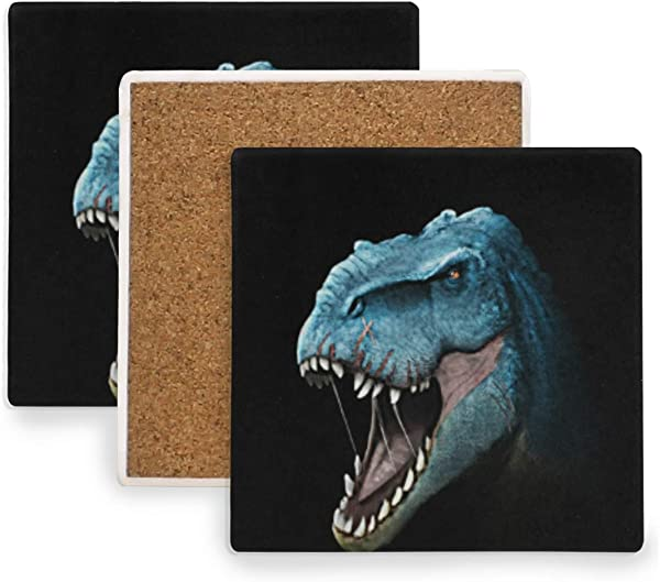 4 Pieces Absorbent Stone Coasters For Drink Square Coasters Set With Cool T Rex Awesome Dinosaurs