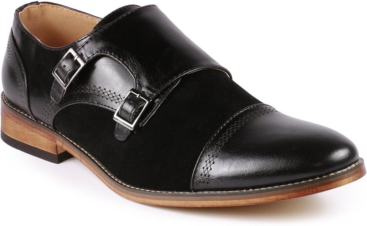 Metrocharm MC135 Men's Double Monk Strap Cap Toe Slip On Oxford Dress Shoes