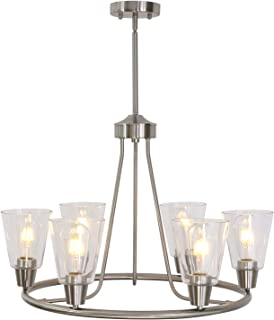 6 Light BONLICHT Large Chandeliers Traditional Brushed Nickel Modern Pendant Lighting Finish with Clear Glass Shades Ceiling Light Fixture for Kitchen Dining Room Living Room Island