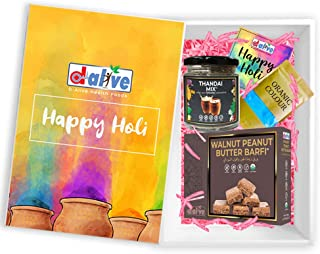 d alive Holi Special Gift Box incl. Instant Thandai Drink Mix, Walnut Peanut Butter Barfi (Sweets), Organic Colour & Greet...