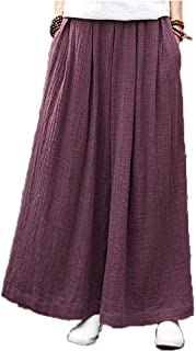 Women's Casual Elastic Waist Drawstring Wide Leg Palazzo Cotton Linen Pants Loose Fit Culottes with Pocket
