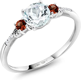 Gem Stone King 10K White Gold 0.63 Ct Round Sky Blue Aquamarine Red Garnet Lab Grown Diamond Engagement Ring