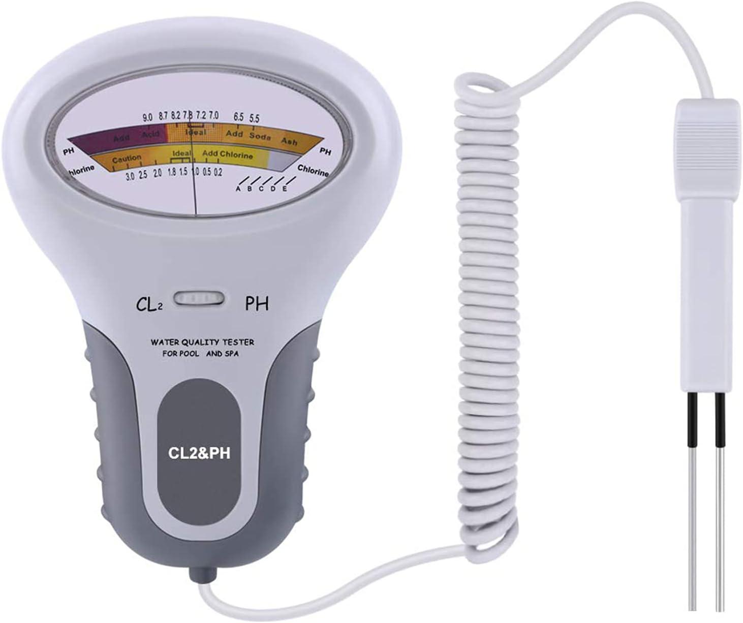 DIFCUL Medidor de cloro PH 2 en 1, medidor de agua de pH, medidor de calidad CL2, para piscina, acuario, spa, piscina