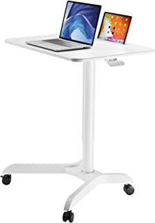 AVLT Pneumatic Laptop Standing Desk Cart - Adjustable Laptop Desk - Mobile Laptop Cart - Computer Cart - Rolling Height Ad...