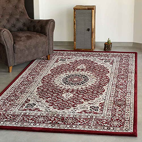 VIMODA Klassisch Orient Teppich dicht gewebt in Dunkel Rot, Maße:160 x 230 cm