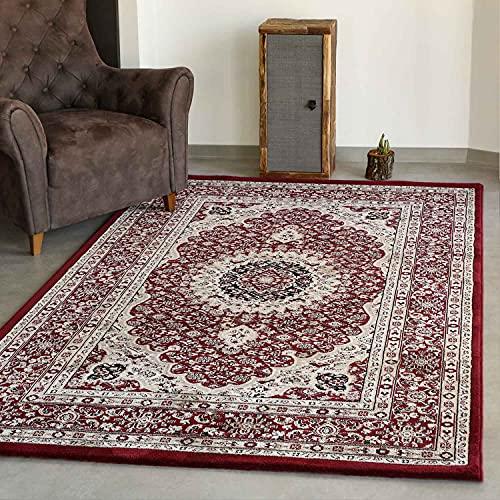 VIMODA Klassisch Orient Teppich dicht gewebt in Dunkel Rot, Maße:120 x 170 cm