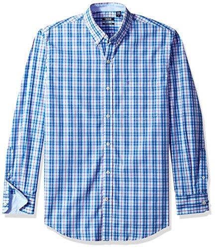 IZOD mens Long Sleeve Stretch Performance Plaid (Discontinued) Button Down Shirt, Truest Blue, XX-Large Slim US