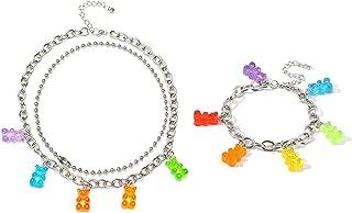 غامي الدب قلادة سوار مجموعة ملون شفاف الراتنج الدب الكرتون لطيف حلوى متعدد الألوان قلادة للنساء بنات مجوهرات جميلة