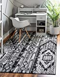 Rugs.com Oregon Collection Rug – 4' x 6' Black and White Low-Pile Rug Perfect for Living Rooms, Large Dining Rooms, Open Floorplans