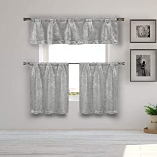 Kelvin - Home Decorator Blackout Room Darkening Kitchen Tier & Valance Set | Small Window Curtain for Cafe, Bath, Laundry, Bedroom - Silver)