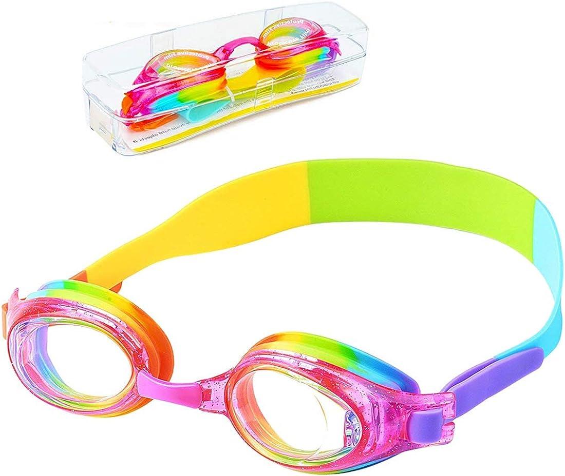 iToobe Gafas de natación para niños de 3 a 14 años de edad para niños y niñas, adolescentes, visión clara, funda de protección gratuita