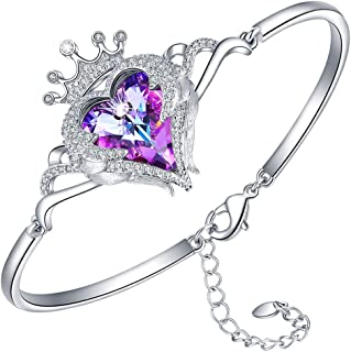 Heart Crown Crystal Bracelets for Women Adjustable Hypoallergenic Bracelet Fine Jewelry Gift for Women Girls