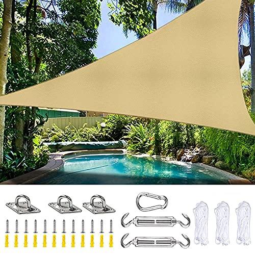 Toldo Vela Triángulo de ángulo Recto de Tejido Impermeable con Kit de Fijación y Cuerda, Vela de Sombra Protección UV para Instalación en Patios, Azoteas y Jardines,3x3x4.3m