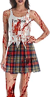 Doric Halloween Womens Sleeveless O-Neck Cold Shoulder Blood Print Prom Party Spaghetti Straps Dress