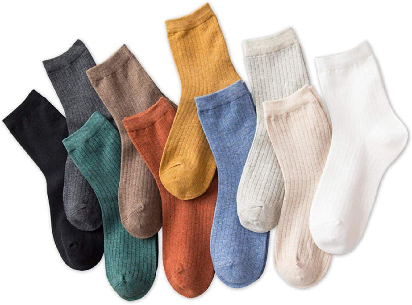 TeenFighter 10 Pairs of Comfortable Casual Cotton Socks for Women, Crew Size for Sports, Solid Color Stretch Socks for Girls