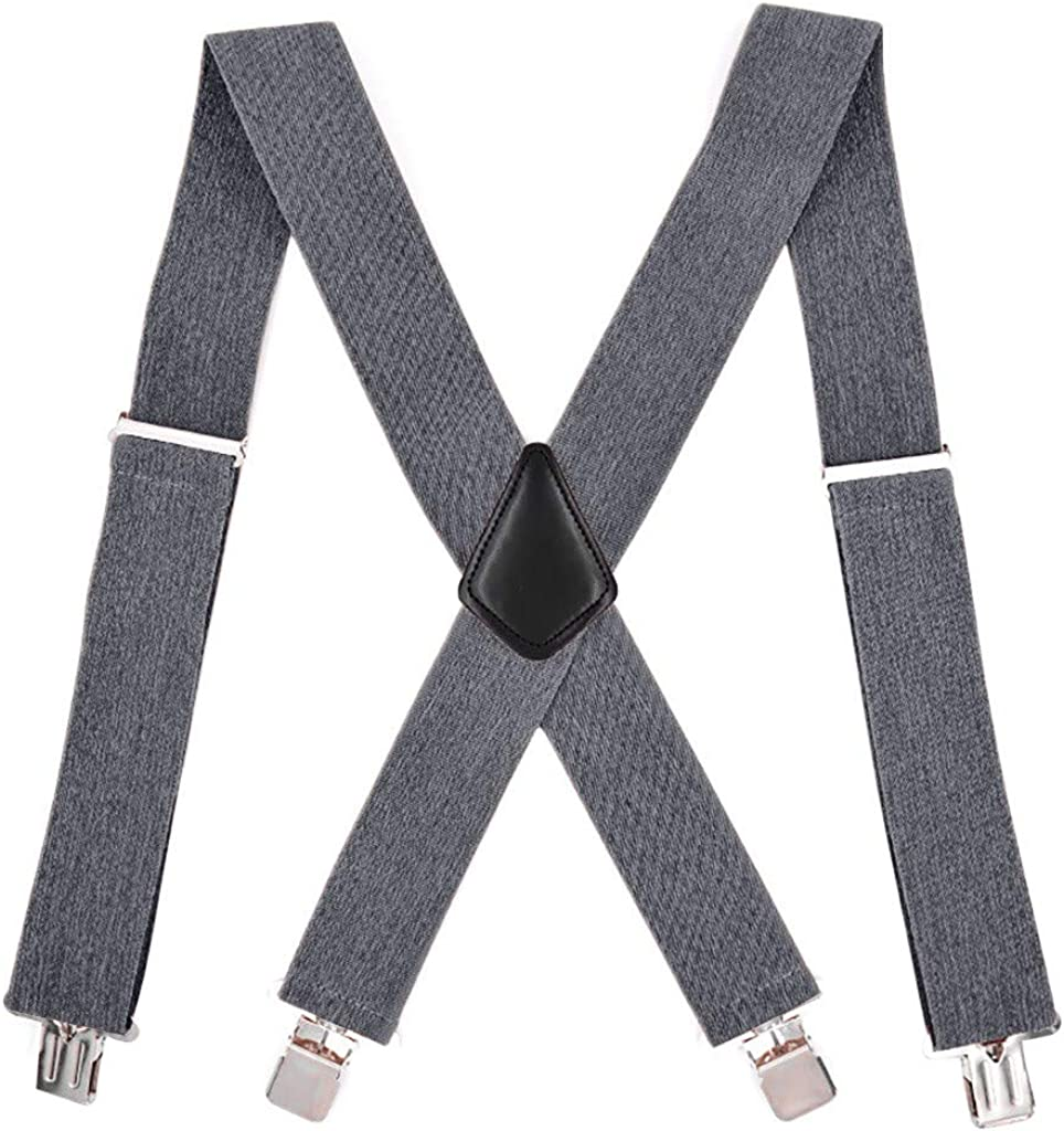HEling Suspenders for Men Heavy Duty Strong Clips Adjustable Elastic X Back Braces Big Tall Men's Suspenders