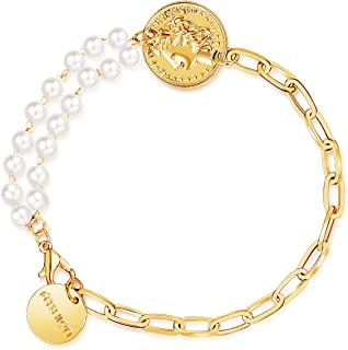 أساور مطلية بالذهب 14 قيراط للنساء الرجال لؤلؤة عملة جولة سحر أساور الخرز لطيف الأزياء والمجوهرات للبنات
