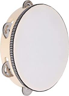 Doreokee Tambourine برای بزرگسالان ، 8 اینچ چوبی دستی تنبور تک ردیف 6 جفت جینگل