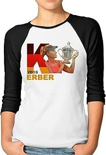 CUPP Women's Angelique Kerber US Open Women Raglan Sleeve Baseball Tshirts