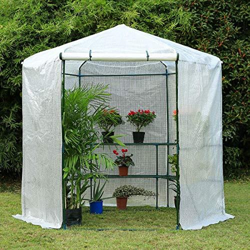 4 | Erommy 7.5FT Portable Greenhouse 3-Tier Shelf Hexagonal Walk-in Green House Kit