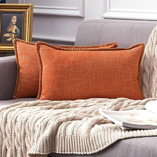 MIULEE 2 Piezas Funda de Cojines Moderna de Lino Cruzado Decoracion de Estilo de Casa Rural Funda de Almohada Decorativa para Sofa Cama Hogar de Rectangulares Cojín 30 x 50 cm Naranja