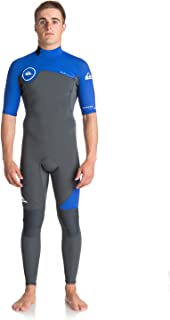 QUIKSILVER Syncro Series 2mm Short Sleeve Back Zip Wetsuit - Mens Gun Metal and Royal Blue - Perfect Summer Wetsuit