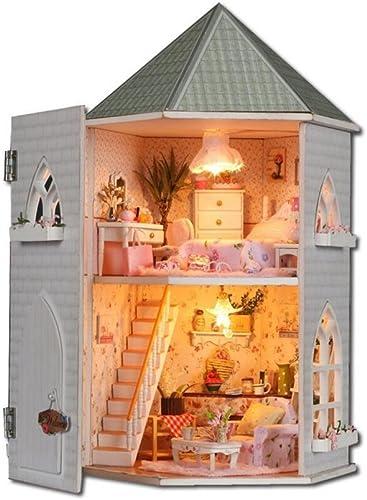 MTTLS Liebe die Festung Doll House Mini Haus M l Kit Dekoration Haus LED Handwerk Holz Puppen Zimmer Geschenk